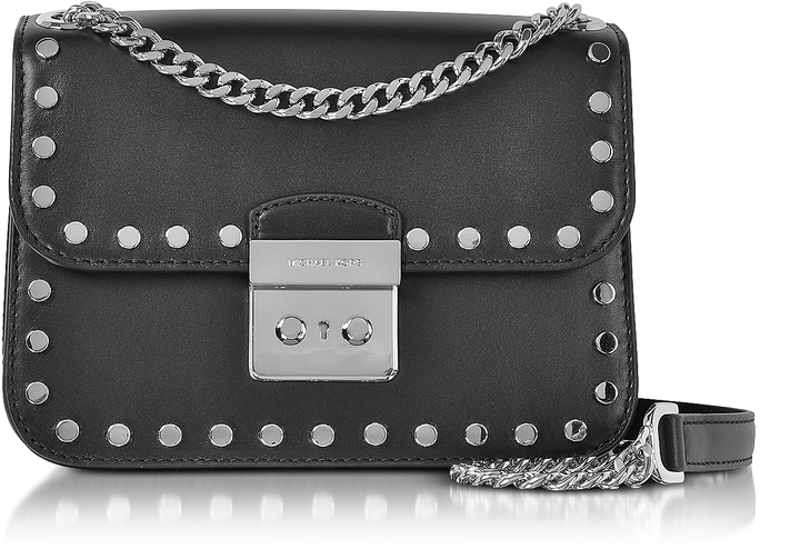 MICHAEL Michael Kors Michael Kors Sloan Editor Medium Black Leather Chain Shoulder Bag w/Studs