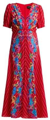 Saloni Lea Polka Dot Silk Crepe Dress - Womens - Red Multi