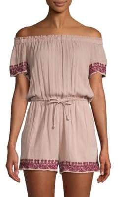 L-Space Embroidered Off-The-Shoulder Romper