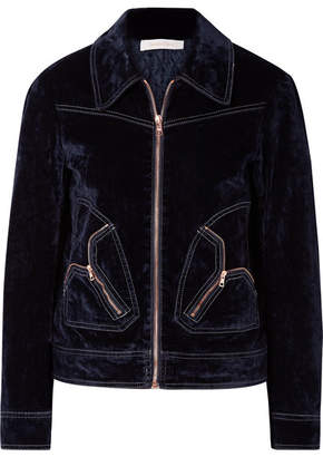 See by Chloe Cotton-blend Velvet Bomber Jacket - Midnight blue