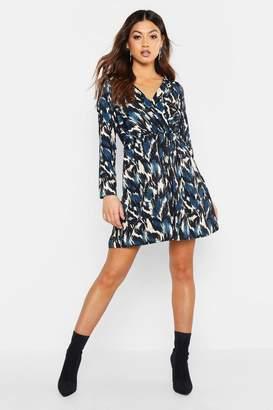 boohoo Woven Abstract Print Skater Dress