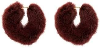 Wild And Woolly burgundy rendezvous fur earrings