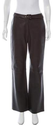 Valentino Leather Wide-Leg Pants