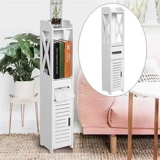 无 80*15.5*15.5CM Bathroom Toilet Furniture Cabinet White Wood Cupboard Shelf Tissue Storage Rack, Bathroom Storage Shelf, Bathroom Storage Cabinet