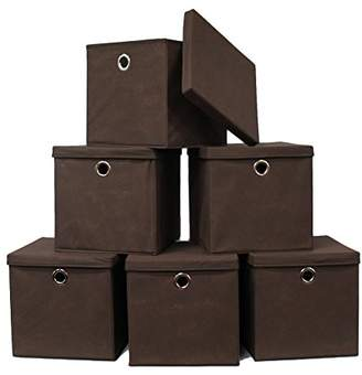 Pezin & Hulin 6 Pack Foldable Storage Cubes with Lid and Metal Eyelet Handle