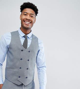 Asos Design DESIGN Tall wedding skinny suit vest in light blue micro texture