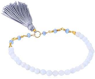 Satya Jewelry Lace Agate Gold Plated Tassel Stretch Bracelet
