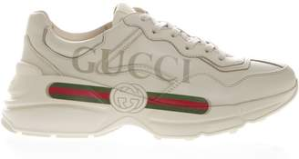 Gucci Ivory Leather Rhyton Sneakers With Logo