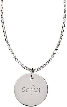 Posh Mommy Sterling Large Disc Pendant with Chain