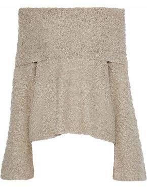 Elizabeth and James Sophie Off-the-shoulder Boucle Linen-blend Sweater