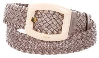 Prada Braided Leather Buckle Belt