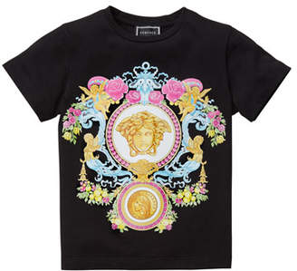 Versace Girl's Multicolored Medusa Graphic Tee, Size 4-6