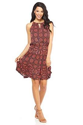 London Times Women's Sleeveless Keyhole Halter Neck TIE Tiered Dress