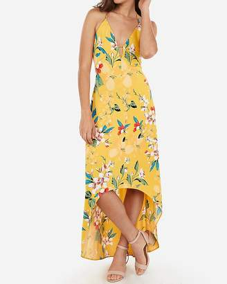 Express Floral Hi-Lo Hem Tie Back Maxi Dress