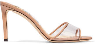 Jimmy Choo Stacey 85 Leather And Pvc Mules - Neutral