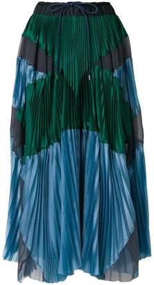 Sacai panel pleated skirt