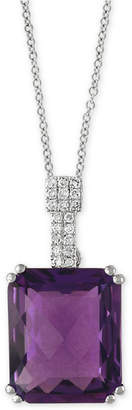 """Effy Amethyst (4-3/4 ct. t.w.) & Diamond Accent 18"""" Pendant Necklace in 14k White Gold"""