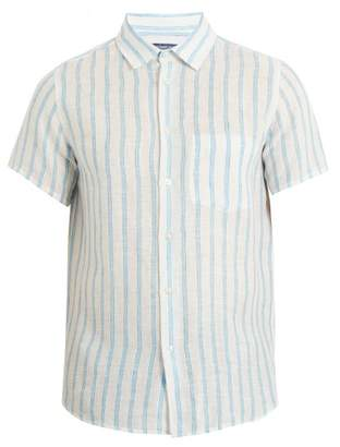 Frescobol Carioca - Short Sleeved Striped Linen Shirt - Mens - Blue Multi