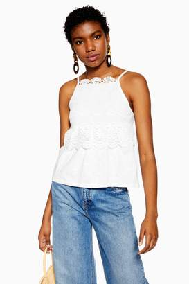 Topshop Womens White Guipure Lace Cami - White