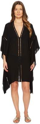 Jonathan Simkhai Crepe Studded V-Neck Caftan Cover-Up