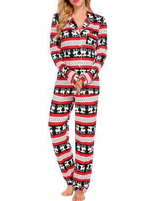 Ekouaer Sleep Set Womens Button Down Pajamas Long Button-Down Pj Set ( 6c252986e