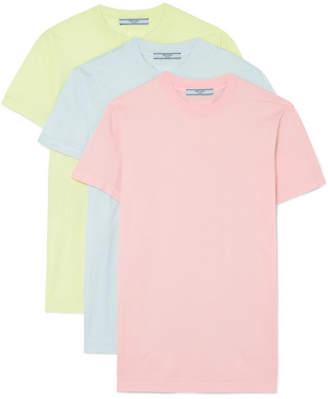 Prada Set Of Three Cotton-jersey T-shirts - Pink