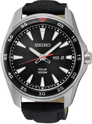 Seiko Men's Solar Sport Black Leather Strap Watch 43mm SNE399 $225 thestylecure.com