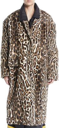 Calvin Klein Single-Breasted Oversized Leopard-Print Suede Coat