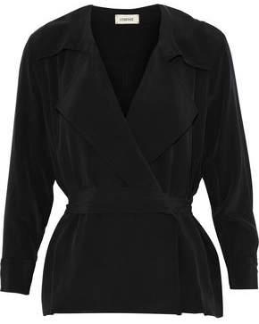 L'Agence Klara Washed-Silk Wrap Top