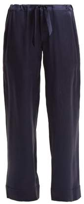 Chufy - Drawstring Waist Silk Charmuese Trousers - Womens - Navy