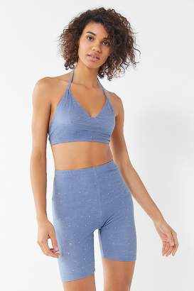 Motel Sparkly Chambray Cropped Halter Top