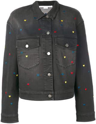 Stella McCartney denim heart embroidered jacket