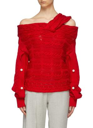 Hellessy 'Melody' faux pearl sleeve cable knit off-shoulder sweater