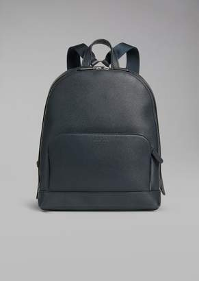 Giorgio Armani Backpack In Grainy Calfskin With Embossed Logo