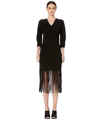 Yigal Azrouel Rayon V-Neck Flare Dress with Fringe Hem