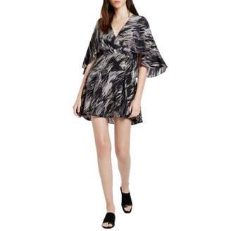 Black Ripple Flowy Silk Printed Mini Dress
