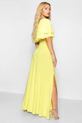 boohoo Ruffle Lace Up Front Maxi Dress
