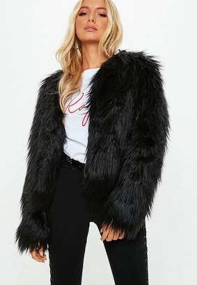 Missguided Black Shaggy Faux Fur Coat