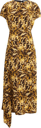 Victoria Beckham Drape Neck Printed Midi Dress