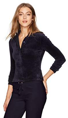 Juicy Couture Black Label Women's Stretch Velour Long Sleeve Polo