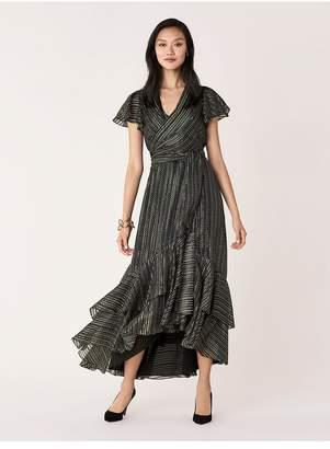 Diane von Furstenberg Donnie Silk-Metallic Faux-Wrap Gown