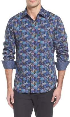 Bugatchi Slim Fit Swirl Print Sport Shirt