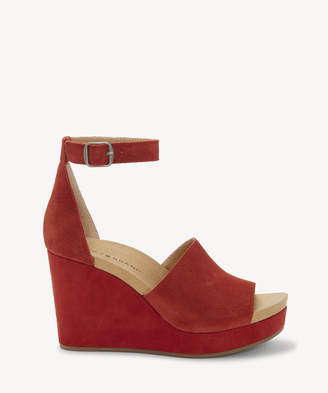 Lucky Brand Women's Yemisa Ankle Strap Wedges Tandori Size 5 Suede From Sole Society