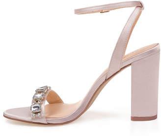 Badgley Mischka AMERICAN GLAMOUR American Glamour Womens Virgo Pumps Buckle Open Toe Block Heel