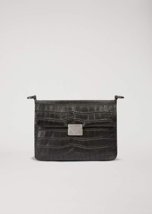 EMPORIO ARMANI cross body bag in croc print leather