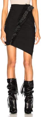 Saint Laurent Gabardine Ruffle Trim Pleated Mini Skirt