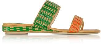 Rodo Mustard Suede Flat Slide Sandals