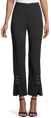 Jonathan Simkhai E-Cig Compact Stretch Grommet Straight-Leg Pants