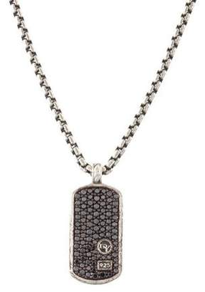 David Yurman Diamond Dog Tag Pendant Necklace
