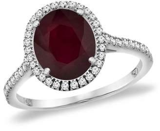 Sabrina Silver 14K White Gold Enhanced Genuine Ruby Diamond Halo Engagement Ring 10x8 mm Oval, size 6.5